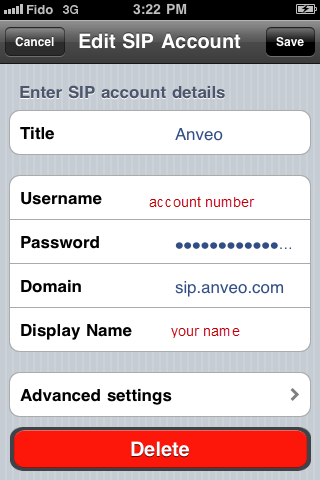 SIP Configuration for Groundwire and 'SIP softphone' by Acrobits